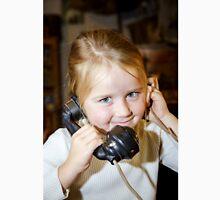 Cute preschooler girl talking by old vintage retro telephon, closeup portrait Classic T-Shirt