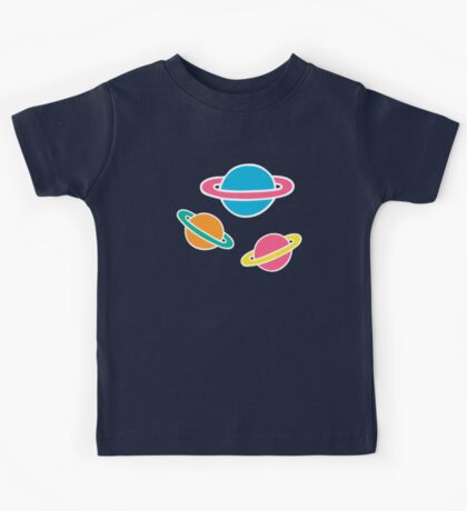 Pink Planets Pattern Kids Tee
