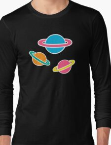 Pink Planets Pattern Long Sleeve T-Shirt