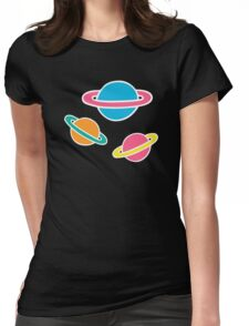 Pink Planets Pattern Womens Fitted T-Shirt