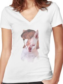 Ziggy Stardust Chihuahua Women's Fitted V-Neck T-Shirt
