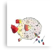 Exploding Pufferfish Piñata Canvas Print