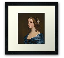 Attributed to John Hayls PORTRAIT OF MISS MIDDLETON, BUST-LENGTH, IN A BROWN DRESS WITH A BLUE CAPE Framed Print