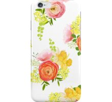 Spring bouquets of rose, ranunculus, narcissus, peony seamless vector pattern iPhone Case/Skin