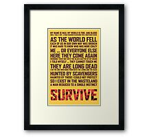 Mad Max Fury Road - Survive  Framed Print