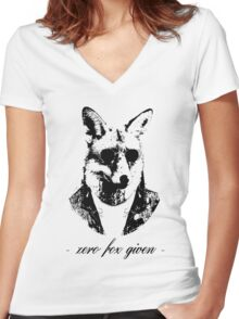 Zero fox given black Women's Fitted V-Neck T-Shirt