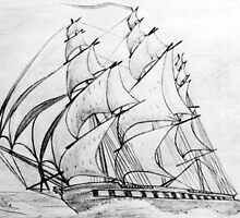 Graphite  Pencil Drawing of a Clipper Ship at Top Speed by Dennis Melling