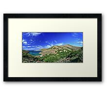 Panorama from bay in Syros island Framed Print
