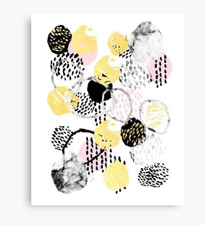 Amalia - gold foil black and white rosequartz texture ink painting art Canvas Print