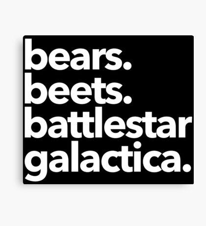 Bears. Beets. Battlestar Galactica. (White Variant) Canvas Print