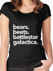 Bears. Beets. Battlestar Galactica. (White Variant) Women's Fitted Scoop T-Shirt