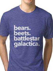 Bears. Beets. Battlestar Galactica. (White Variant) Tri-blend T-Shirt