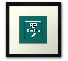 Boring Road Sign, Oregon Framed Print