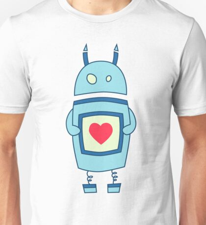 Cute Clumsy Robot With Heart Unisex T-Shirt