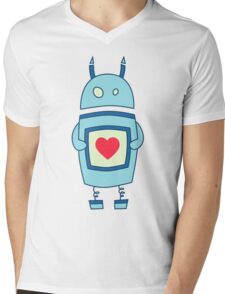 Cute Clumsy Robot With Heart Mens V-Neck T-Shirt