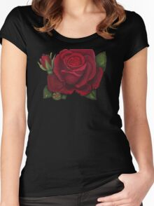 Red rose Women's Fitted Scoop T-Shirt