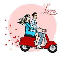Lovers on a scooter Photographic Print