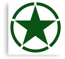 ARMY, Army Star & Circle, Roundel, Jeep, War, WWII, America, American, USA, in GREEN Canvas Print
