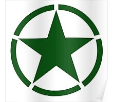 ARMY, Army Star & Circle, Roundel, Jeep, War, WWII, America, American, USA, in GREEN Poster