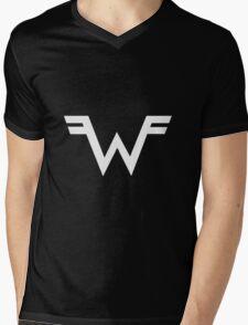 Weezer =W= Logo White Mens V-Neck T-Shirt