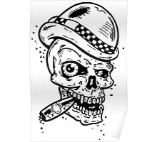 Skull with a cigar and a hat Poster