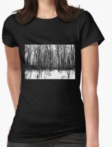A Black And White Winter Womens Fitted T-Shirt