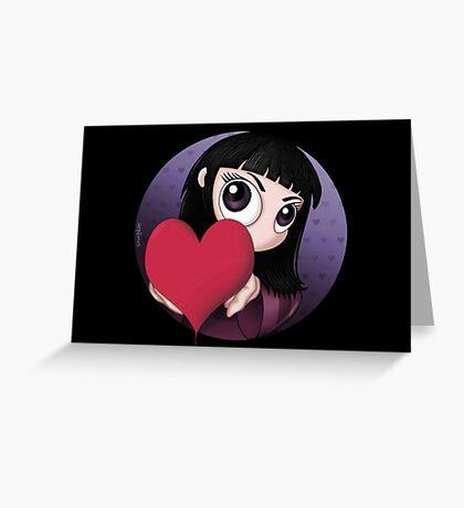 PEEKABOO LOVE HEART VALENTINE'S DAY - GOTH, GOTHIC, CUTE Greeting Card