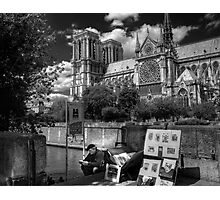 On the Steps of Notre Dame Photographic Print