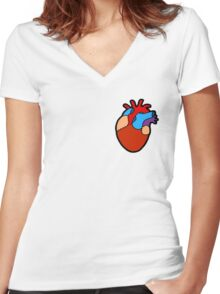 Anatomical Heart Pattern Women's Fitted V-Neck T-Shirt
