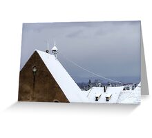 First snow in small french village, season specific Greeting Card