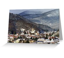 Small french village over the snow, Andlau landscape view Greeting Card