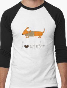 Winter dachshund Men's Baseball ¾ T-Shirt