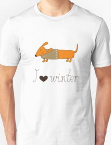 Winter dachshund Unisex T-Shirt