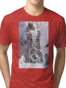 Beautiful snowy forest landscape, season concept, Alsace, France Tri-blend T-Shirt