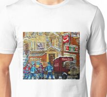 MOE'S DINER CORNER SNACK BAR DOWNTOWN MONTREAL CANADIAN ART BY CANADIAN ARTIST CAROLE SPANDAU Unisex T-Shirt