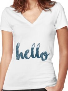 Hello song by Adele Women's Fitted V-Neck T-Shirt