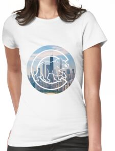 Chicago Cubs Skyline Logo Womens Fitted T-Shirt