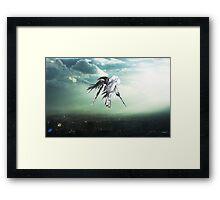 Gundam Wing above the city  Framed Print