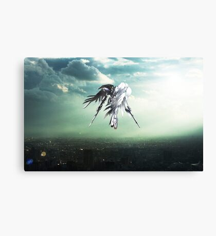 Gundam Wing above the city  Canvas Print
