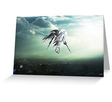 Gundam Wing above the city  Greeting Card
