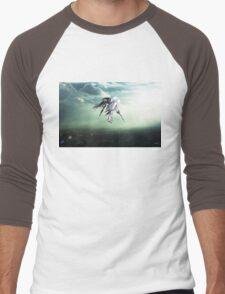 Gundam Wing above the city  Men's Baseball ¾ T-Shirt
