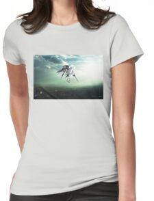 Gundam Wing above the city  Womens Fitted T-Shirt