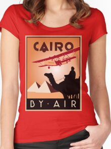 Cairo by air retro vintage travel Women's Fitted Scoop T-Shirt