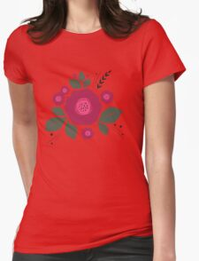Flowers in folk stile with spikelet pattern. T-Shirt