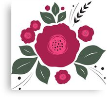 Flowers in folk stile with spikelet pattern. Canvas Print