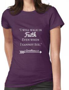 Faith Bible Verse- 2 Corinthians 5:7 (Summer Forest) Womens Fitted T-Shirt