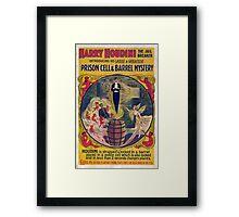 Harry Houdini Vintage Poster Art- Barrel Mystery! Framed Print
