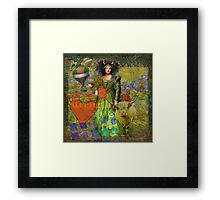 Vintage Taurus Gothic Whimsical Collage Woman Surreal Framed Print