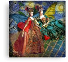 Vintage Golden Women Gemini Gothic Whimsical Collage Canvas Print