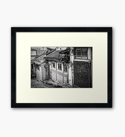 South Korean Hanok Street BW Framed Print